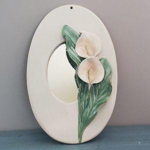 Vintage Pottery Calla Lilly Mirror